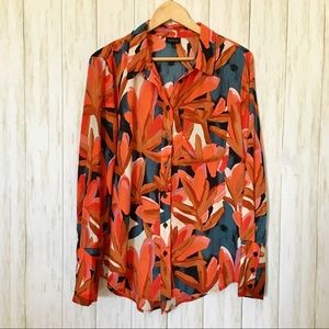 bold orange floral button up • who what wear • XL